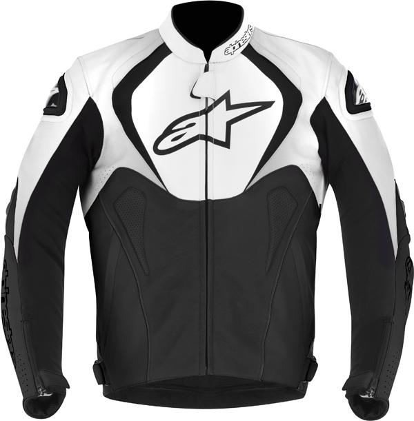 Giacca moto pelle Alpinestars Jaws nero-bianco