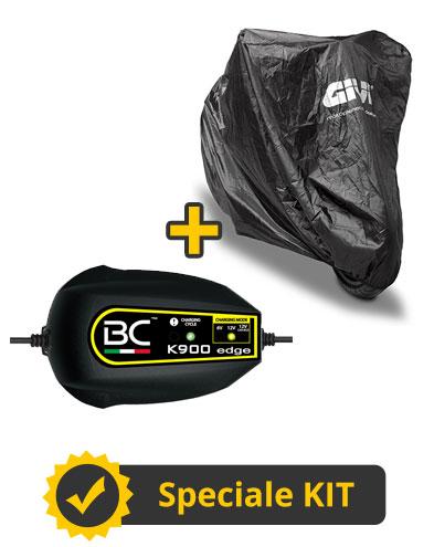 Kit Advance L - Caricabatterie e manutentore carica Battery Controller + Coprimoto impermeabile Givi