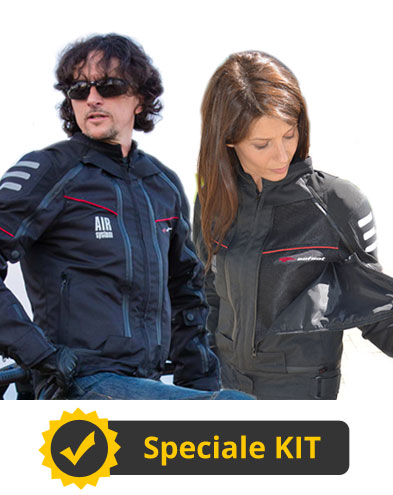 Kit All Season Black - Giubbotto moto uomo + Giubbotto moto donna - All Season Befast con Air System 4 Stagioni