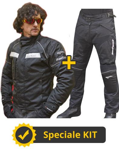 Kit Antares Man - Giubbotto moto + Pantaloni moto - Befast New Cruizer WP nero e Antares Evo neri