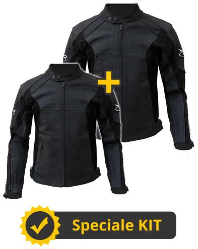 Kit Black Leather - Giacca moto in Pelle e Tessuto Uomo + Donna