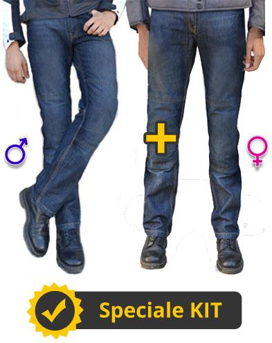 Kit DaniTour - Jeans moto UOMO + Jeans moto DONNA - Befast con Kevlar e protezioni