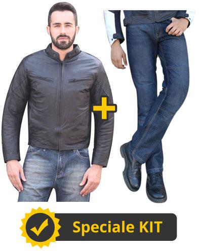 Kit HelberTour - Giacca in pelle + Jeans con Kevlar e protezioni