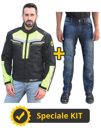 Kit HiViGTX - Giacca touring alta visibilità + Jeans con protezioni