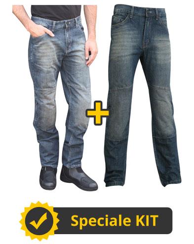 Kit Infinity - Jeans moto con Kevlar e protezioni Uomo + Donna