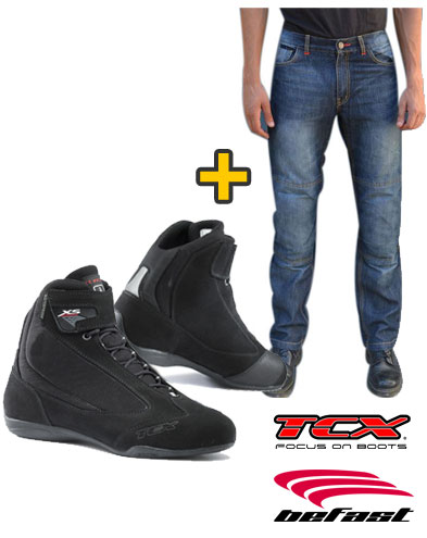 Kit Nettuno - Jeans moto Befast con protezioni + Scarpe moto TCX X-Square SMU Waterproof Nero