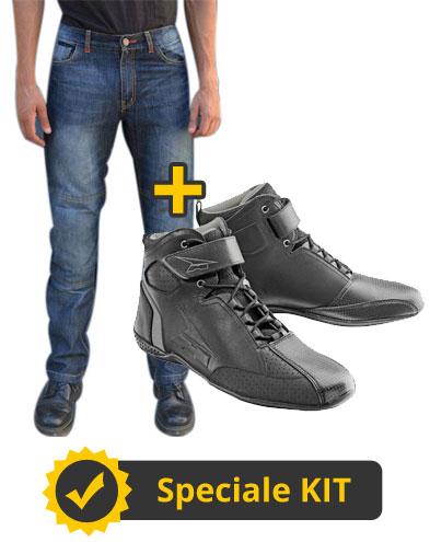 Kit NettunoShoes - Jeans moto con protezioni Befast Nettuno + Scarpe moto in pelle Acerbis Asphalt