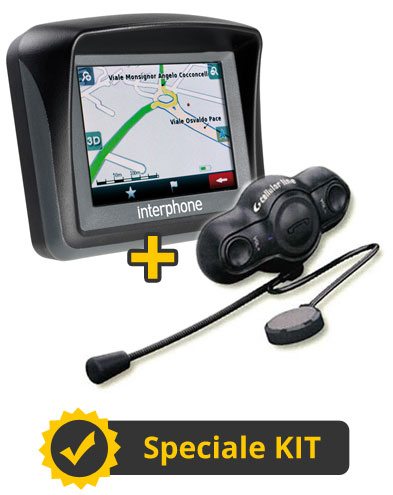 Kit RoadEurope - Interfono Bluetooth Singolo + Navigatore Europa Interphone Cellular LIne