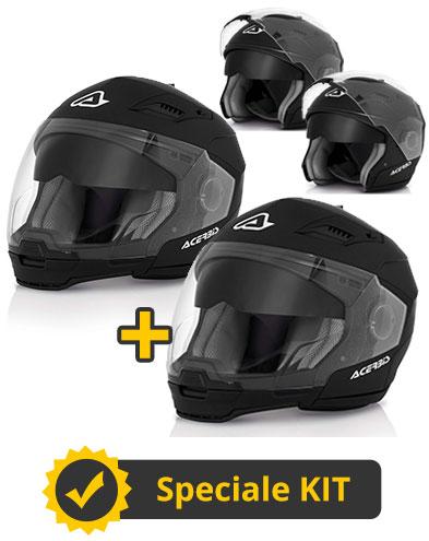 Kit Stratos Nero - Coppia caschi modulari Stratos con mentoniera staccabile e occhialino parasole