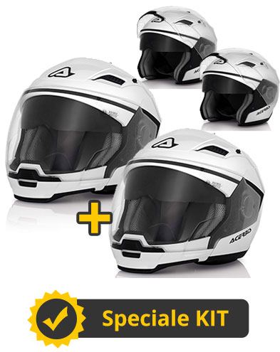 Kit Stratos Bianco - Coppia caschi modulari Stratos con mentoniera staccabile e occhialino parasole