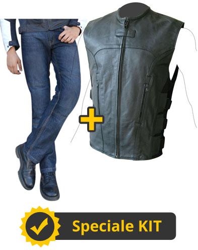 Kit Teseo - Gilet custom in pelle + Jeans con Kevlar e protezioni