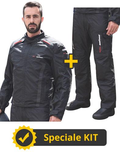 Kit Tuono Uomo Nero - Giacca moto uomo + Pantaloni moto uomo - Befast Tuono WP Nero
