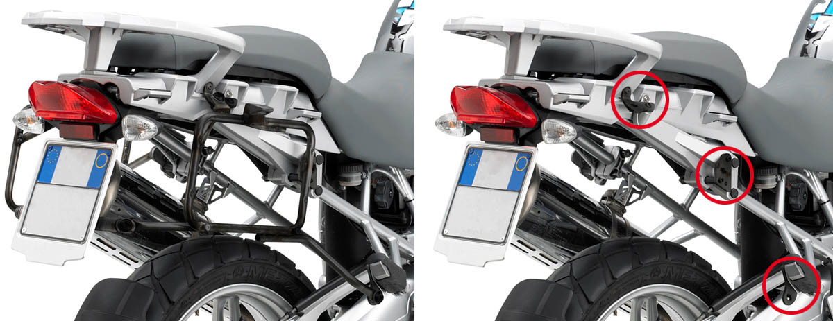 Portavaligie KLR684 per BMW R1200GS laterale tubolare ad agganci
