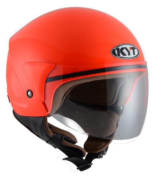 Casco demi-jet KYT Cougar Plain rosso fluo