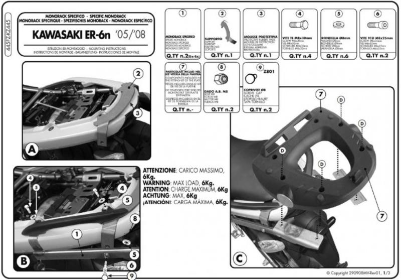 Specific Monorack arms for kz445 kawasaki er 6f 6n/er