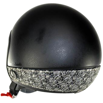 Love Helmet neck cover sequins silver