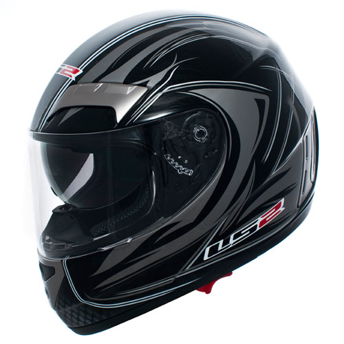Casco moto integrale in fibra LS2 Stealth FF 375.6 nero lucido