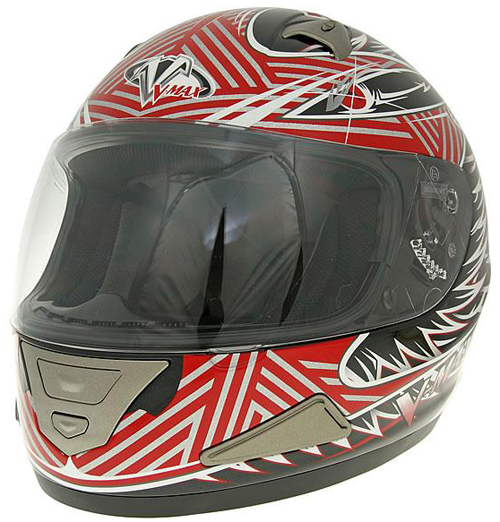 Casco moto integrale V-max Mach1 Fierce graphic Rosso
