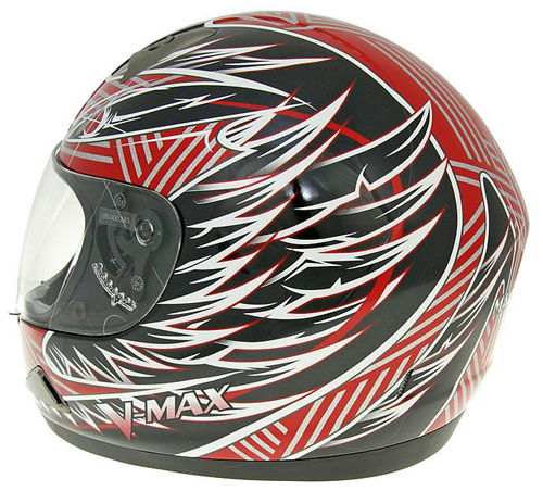 V-max Mach1 Fierce graphic full face helmet Red