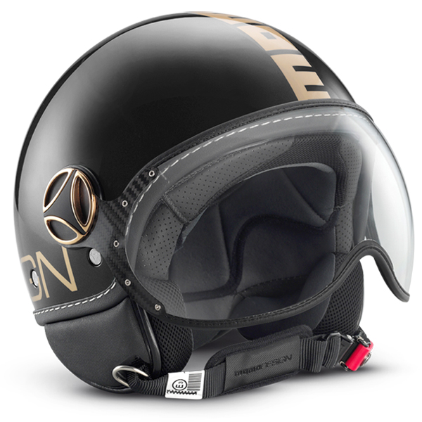Casco jet Momo Design Fighter Plus Nero Lucido Oro