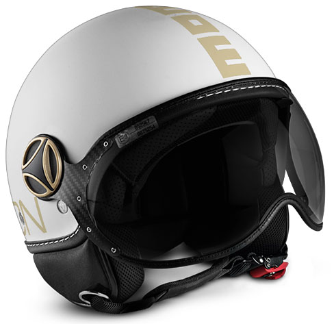 Casco jet Momo Design Fighter Plus Bianco Opaco Oro