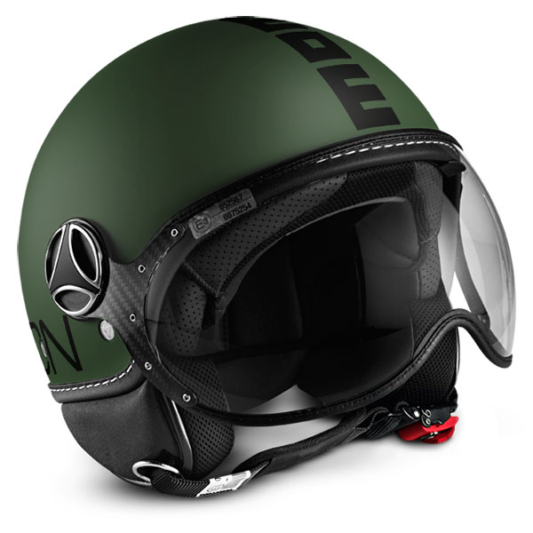 Casco jet Momo Design Fighter Classic Verde Militare Nero