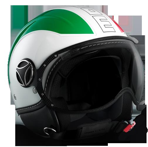 Momo Design Avio Green White Red 150° helmet Black Outline