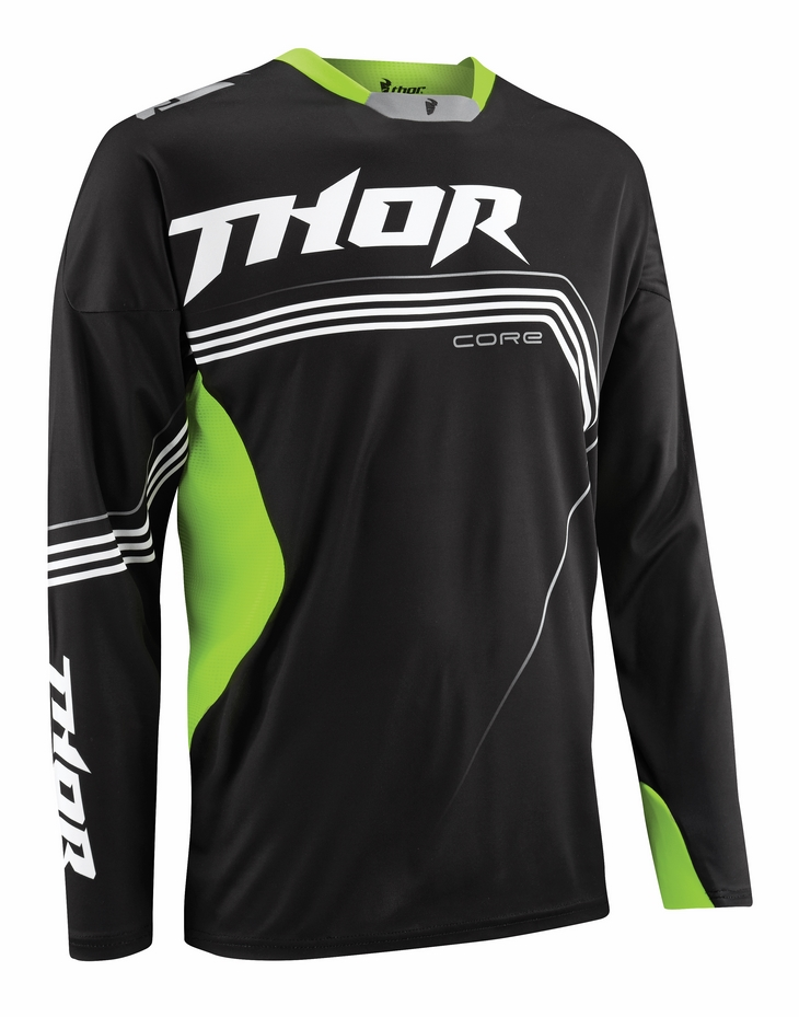 Thor Core Bend jersey black green fluo