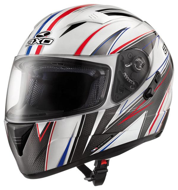 Full face helmet with goggles sun AXO Goblin Wave White