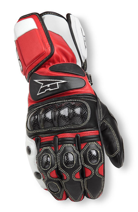 Motorbike Leather Gloves AXO KK4R HT Black Red