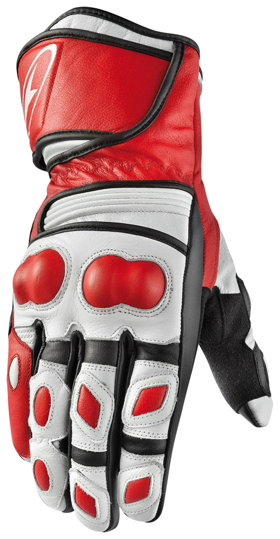 Motorbike Leather Gloves AXO KR11 White Red
