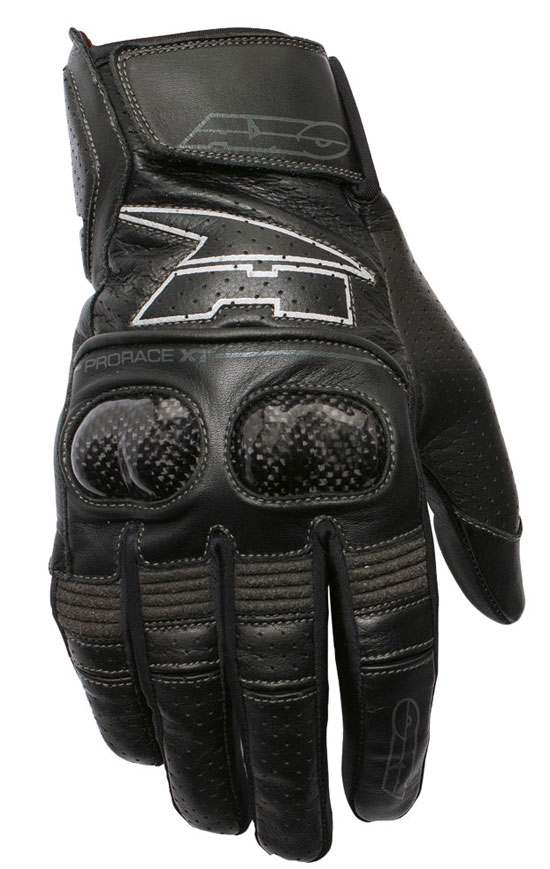 Summer Leather Motorcycle Gloves AXO Pro Race XT Black
