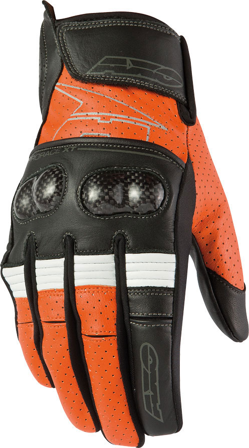 Summer Leather Motorcycle Gloves AXO Pro Race XT Black Orange