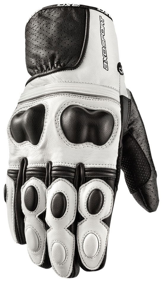 Motorbike Leather Gloves AXO Black White Snake