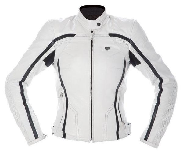 Ladies leather motorcycle jacket AXO BlackJack White Lady