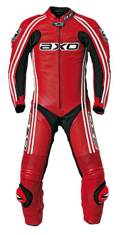 Jumpsuit AXO Bullet Cowhide leather perforated Red