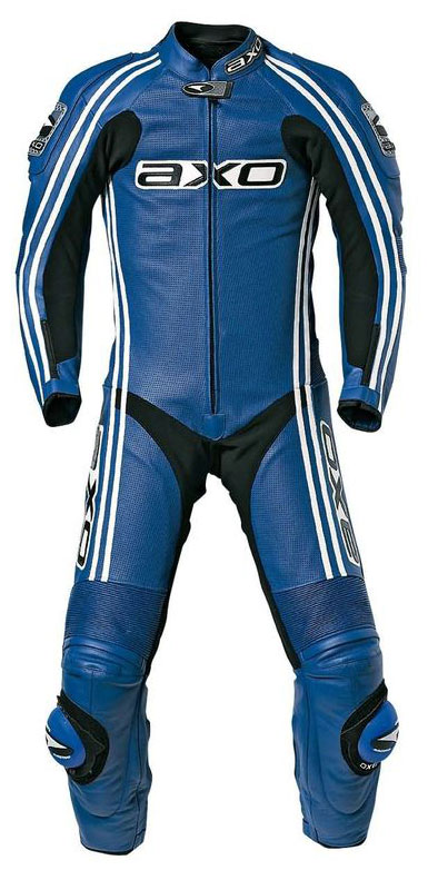 Jumpsuit Leather AXO Bullet Long Blue Kangaroo perforated