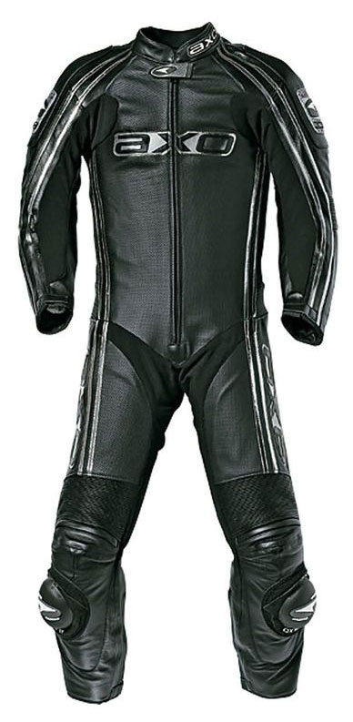 Jumpsuit Leather AXO Bullet Long Black Kangaroo perforated