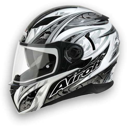 Motorcycle Helmet Airoh Movement White Flowers