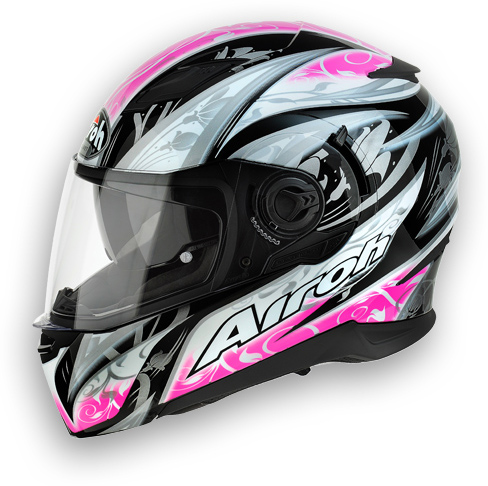 Casco moto Airoh Movement Flowers rosa