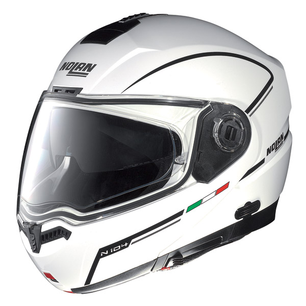 Casco moto Nolan N104 Storm N-Com metal white