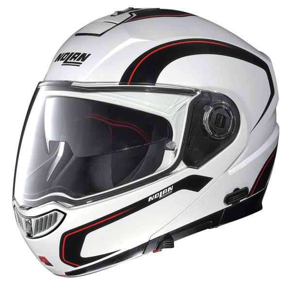 Modular Helmet Nolan N104 Evo N-Com Action white-black-red