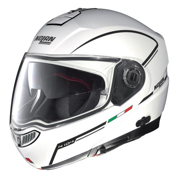 Casco moto modulare Nolan N104 Evo Storm N-Com bianco