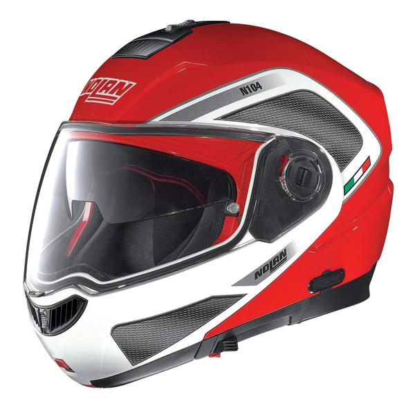 Casco moto modulare Nolan N104 Evo Tech N-Com rosso corsa