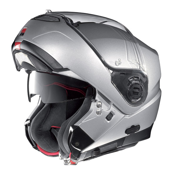 Motorcycle Helmet flip-up Nolan N104 Evo Tech N-Com metal white