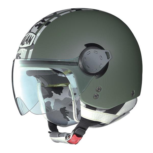 Casco demijet Nolan N20 Traffic Combat Plus Verde Militare Opaco