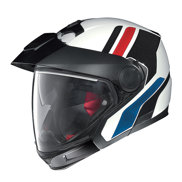 Nolan N40Full Adventy Plus N-Com flip off helmet White Blue Red