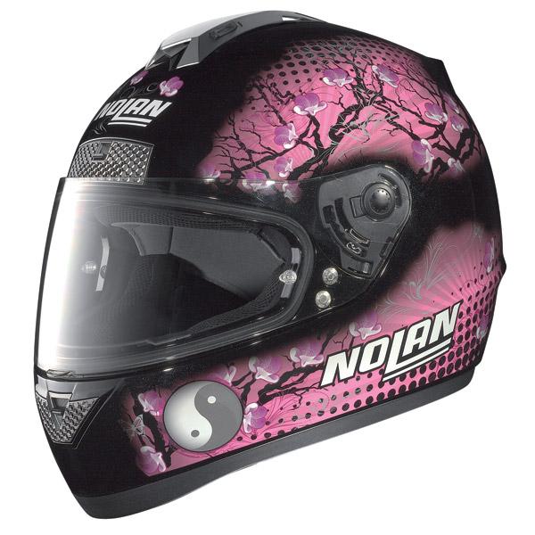 Casco moto Nolan N63 Flowers metal black-rosa