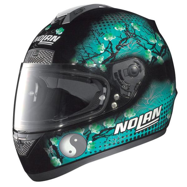 Nolan N63 Flowers full-face helmet metal black green