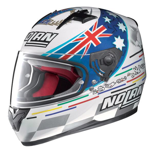 Helmet full-face Nolan N64 Gemini Replica Stoner Tribute white